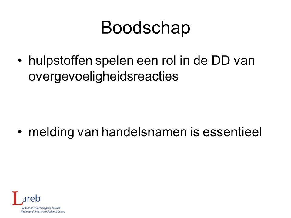 Boodschap hulpstoffen spelen een rol in de DD van overgevoeligheidsreacties. melding van handelsnamen is essentieel.
