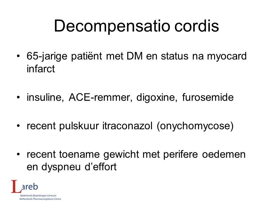 Decompensatio cordis 65-jarige patiënt met DM en status na myocard infarct. insuline, ACE-remmer, digoxine, furosemide.