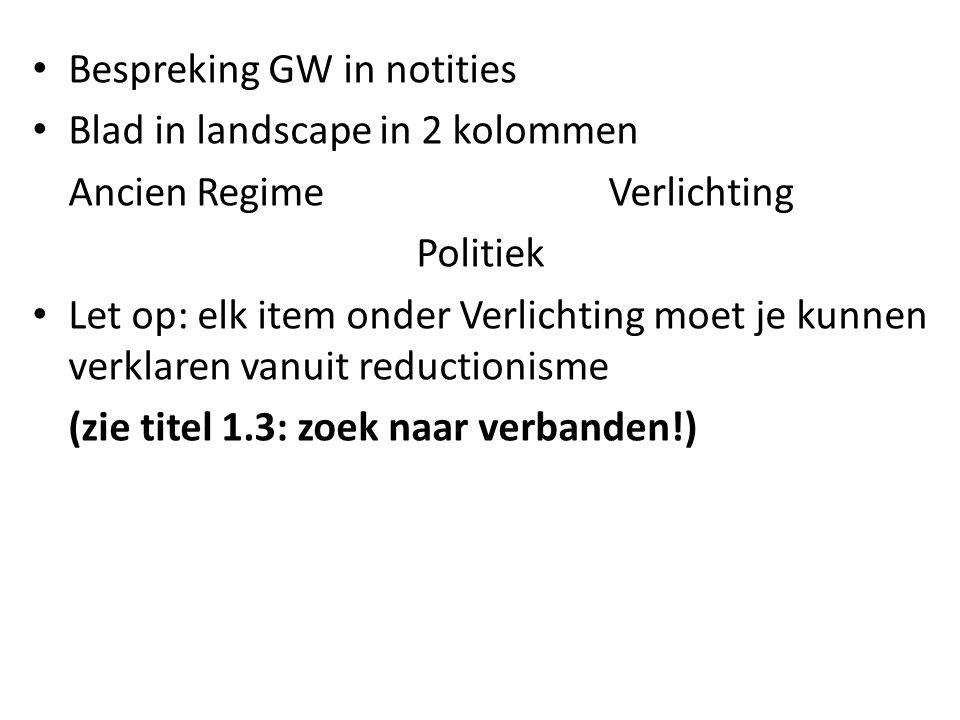 Bespreking GW in notities
