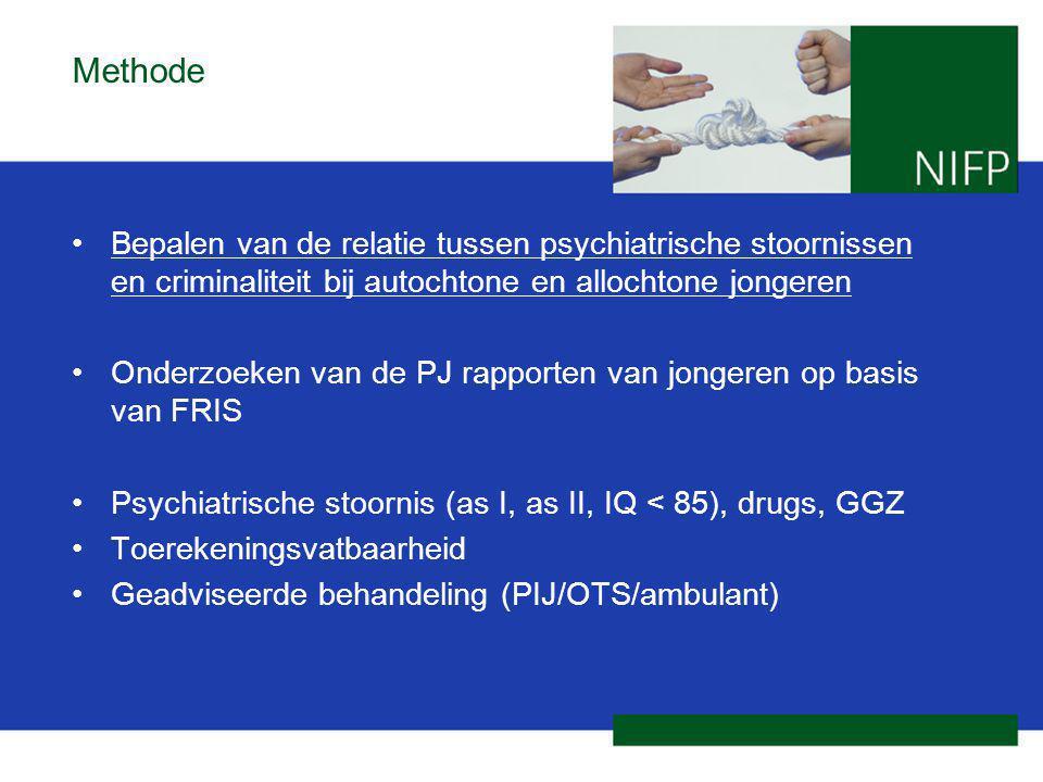 Methode Bepalen van de relatie tussen psychiatrische stoornissen en criminaliteit bij autochtone en allochtone jongeren.