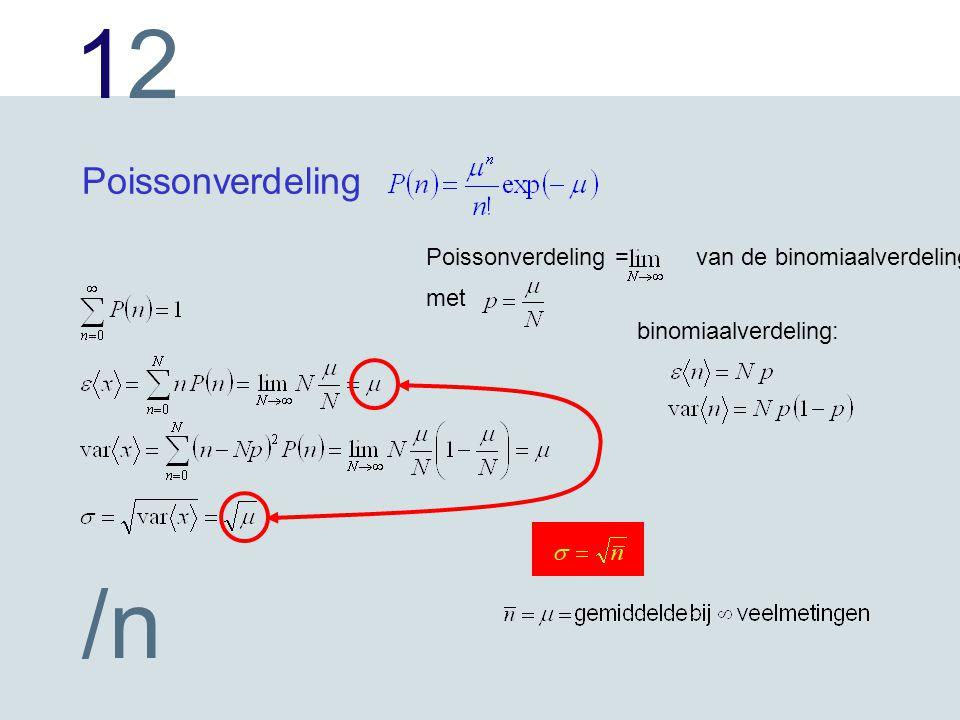 Poissonverdeling Poissonverdeling = van de binomiaalverdeling met