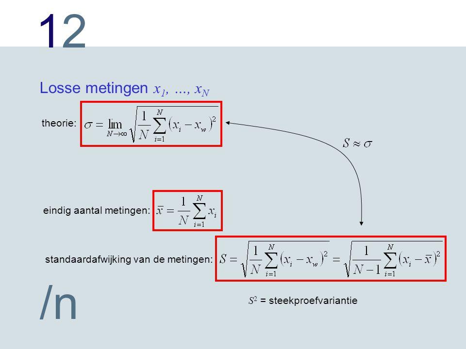 Losse metingen x1, …, xN theorie: eindig aantal metingen: