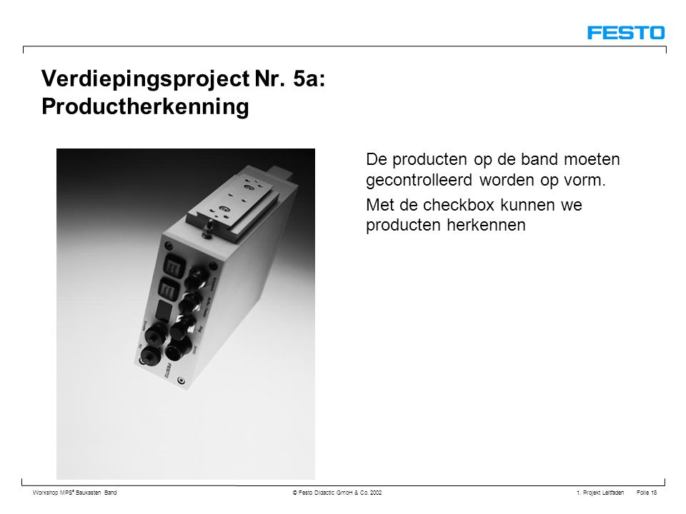 Verdiepingsproject Nr. 5a: Productherkenning