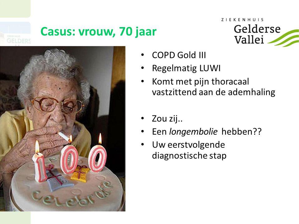Casus: vrouw, 70 jaar COPD Gold III Regelmatig LUWI