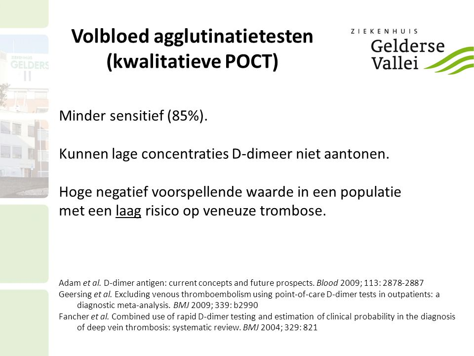Volbloed agglutinatietesten (kwalitatieve POCT)