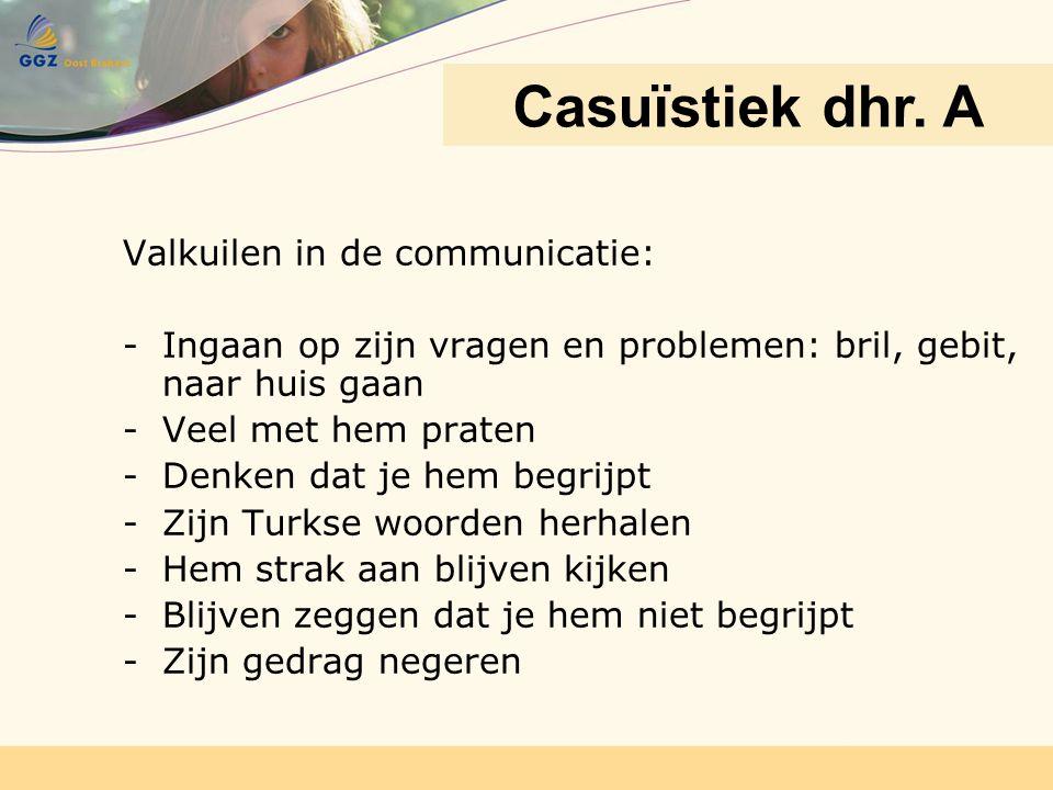 Casuïstiek dhr. A Valkuilen in de communicatie: