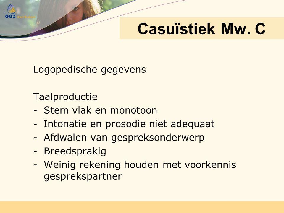 Casuïstiek Mw. C Logopedische gegevens Taalproductie