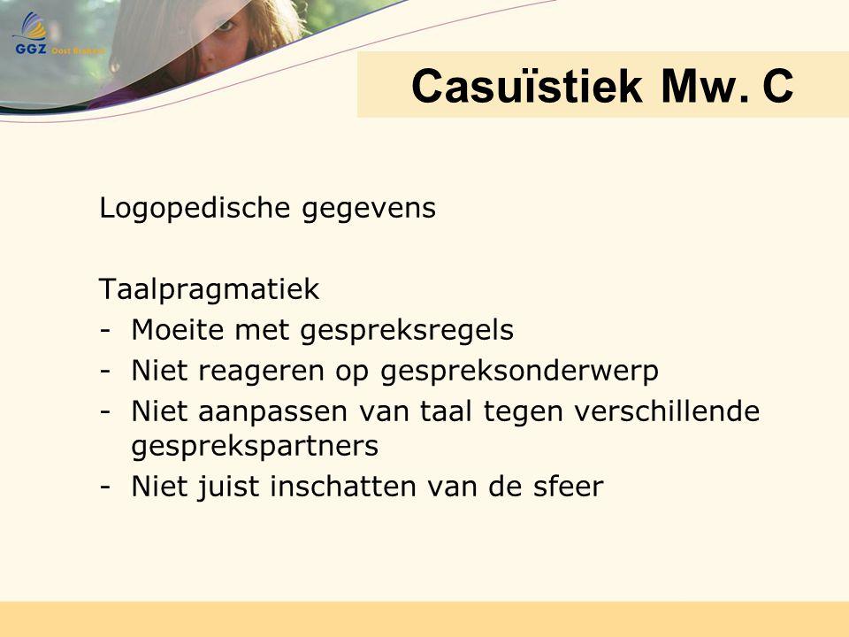 Casuïstiek Mw. C Logopedische gegevens Taalpragmatiek