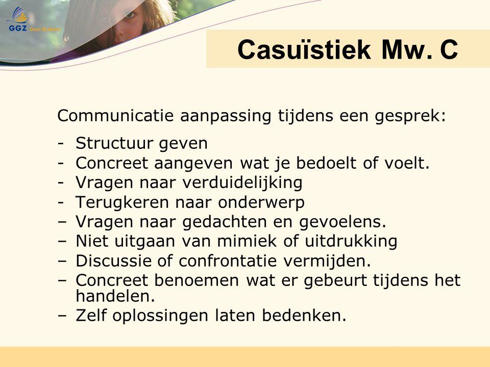 Casuïstiek Mw. C Communicatie aanpassing tijdens een gesprek: