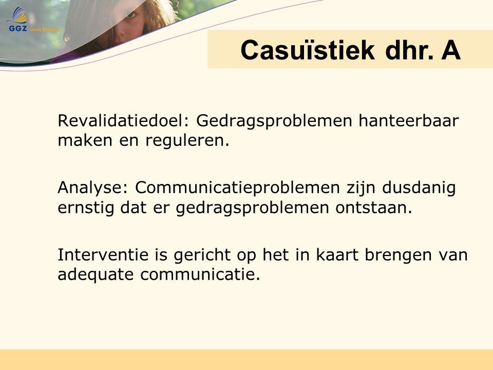 Casuïstiek dhr. A Dhr. A. Revalidatiedoel: Gedragsproblemen hanteerbaar maken en reguleren.