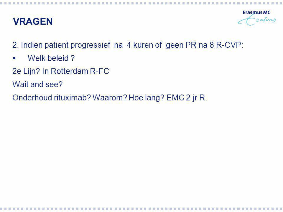 VRAGEN 2. Indien patient progressief na 4 kuren of geen PR na 8 R-CVP: