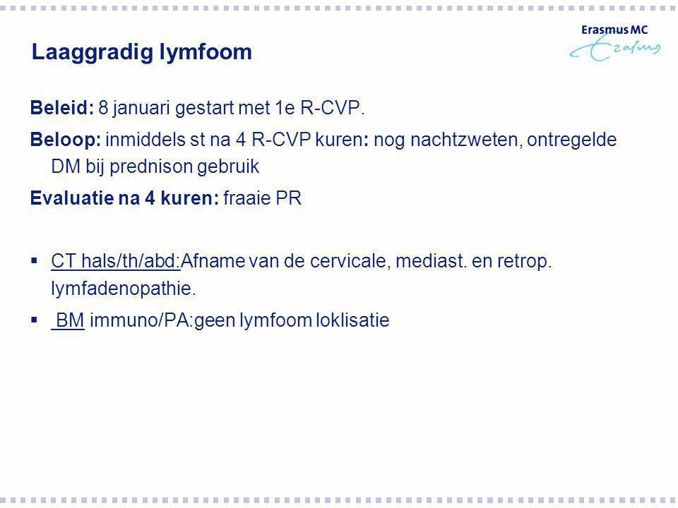 Laaggradig lymfoom Beleid: 8 januari gestart met 1e R-CVP.