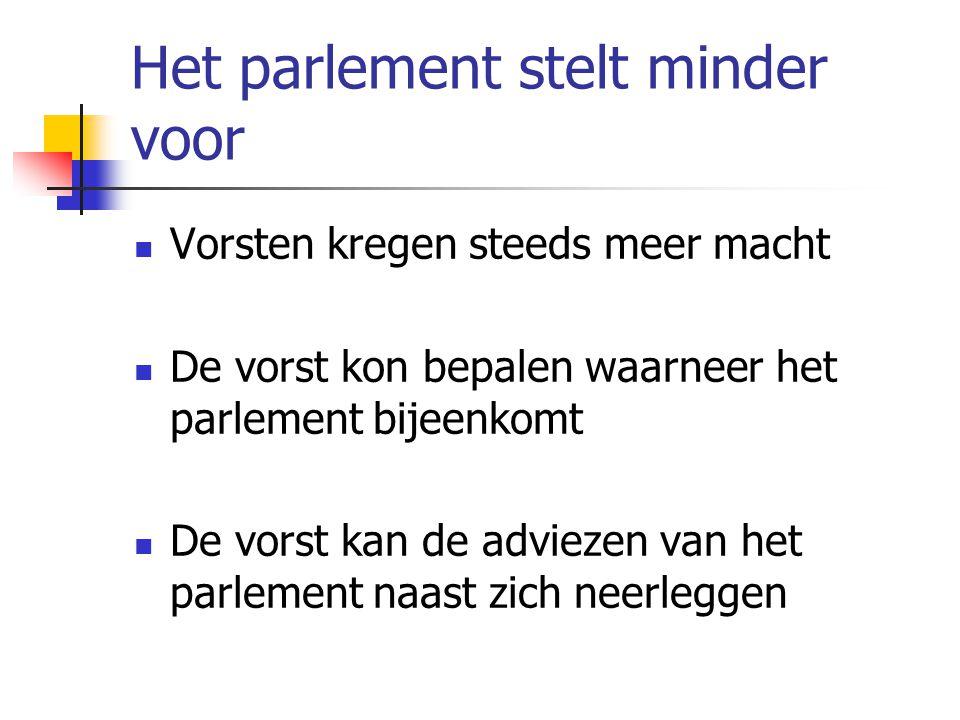 Het parlement stelt minder voor