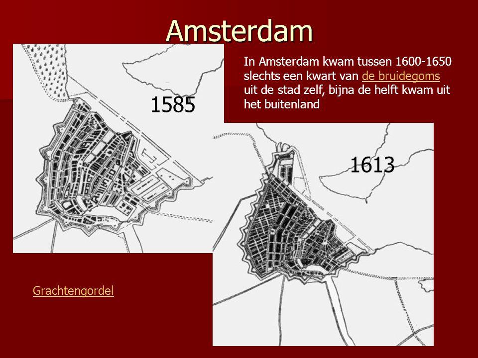 Amsterdam In Amsterdam kwam tussen 1600-1650 slechts een kwart van de bruidegoms uit de stad zelf, bijna de helft kwam uit het buitenland.