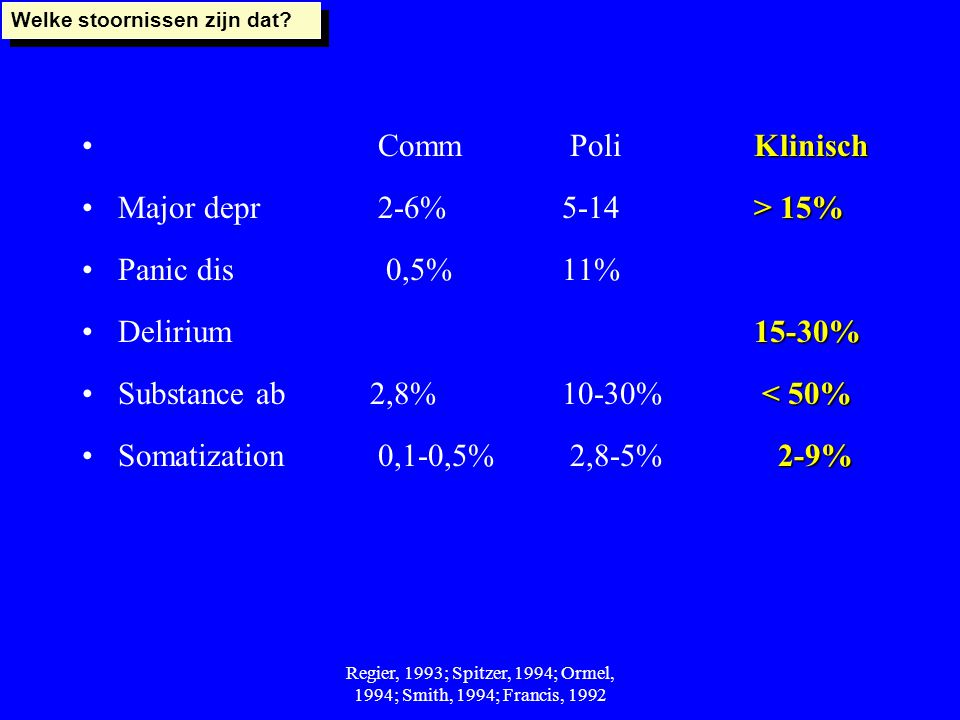 Regier, 1993; Spitzer, 1994; Ormel, 1994; Smith, 1994; Francis, 1992