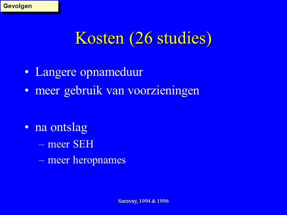 Kosten (26 studies) Langere opnameduur meer gebruik van voorzieningen