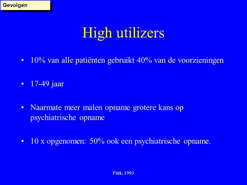 Gevolgen High utilizers. 10% van alle patiënten gebruikt 40% van de voorzieningen. 17-49 jaar.