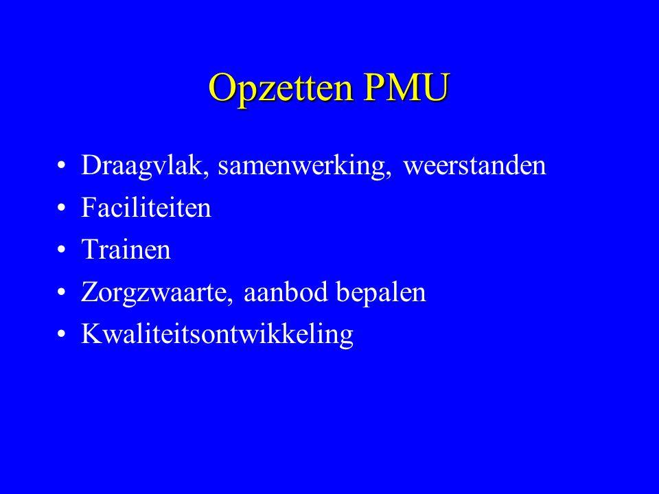 Opzetten PMU Draagvlak, samenwerking, weerstanden Faciliteiten Trainen