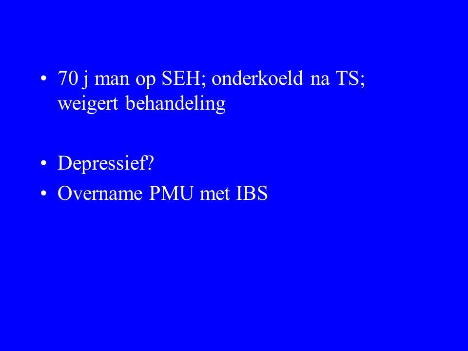 70 j man op SEH; onderkoeld na TS; weigert behandeling