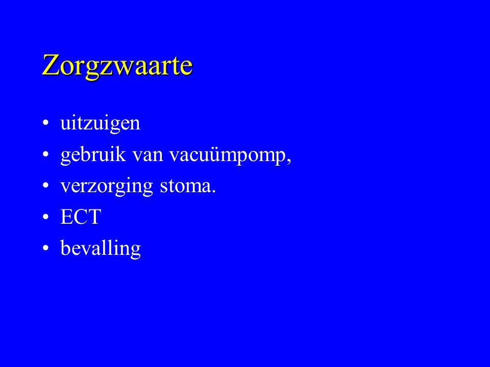 Zorgzwaarte uitzuigen gebruik van vacuümpomp, verzorging stoma. ECT