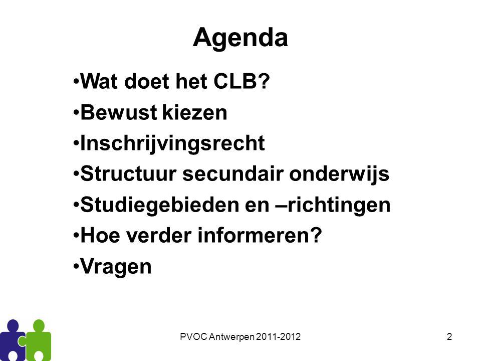 Agenda Wat doet het CLB Bewust kiezen Inschrijvingsrecht