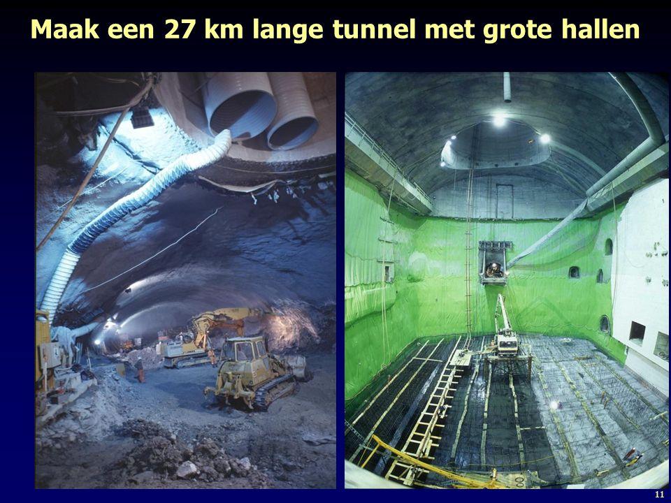 Maak een 27 km lange tunnel met grote hallen