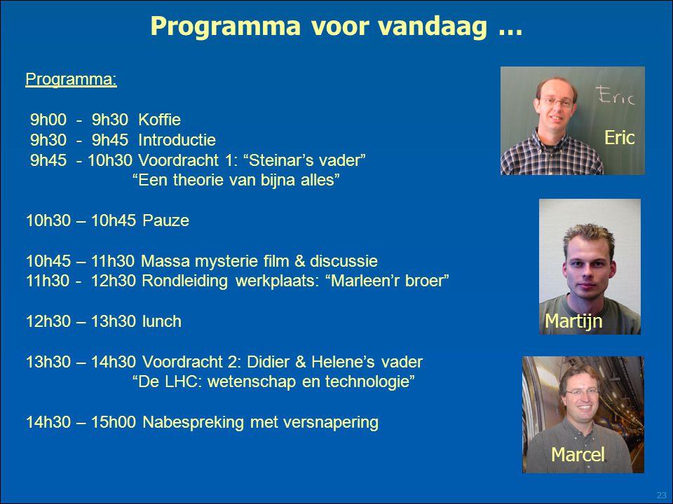 Programma voor vandaag …
