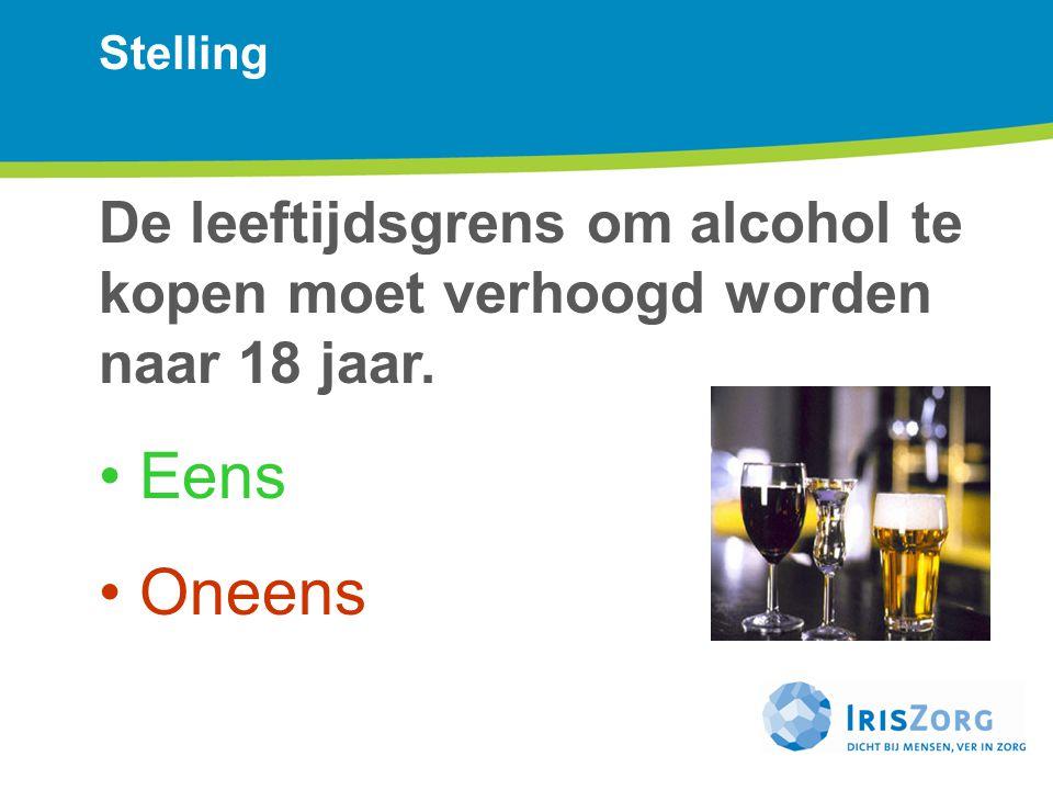 Stelling De leeftijdsgrens om alcohol te kopen moet verhoogd worden naar 18 jaar.