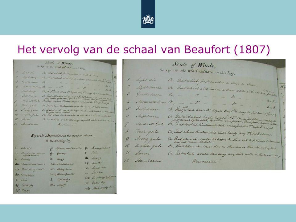Het vervolg van de schaal van Beaufort (1807)