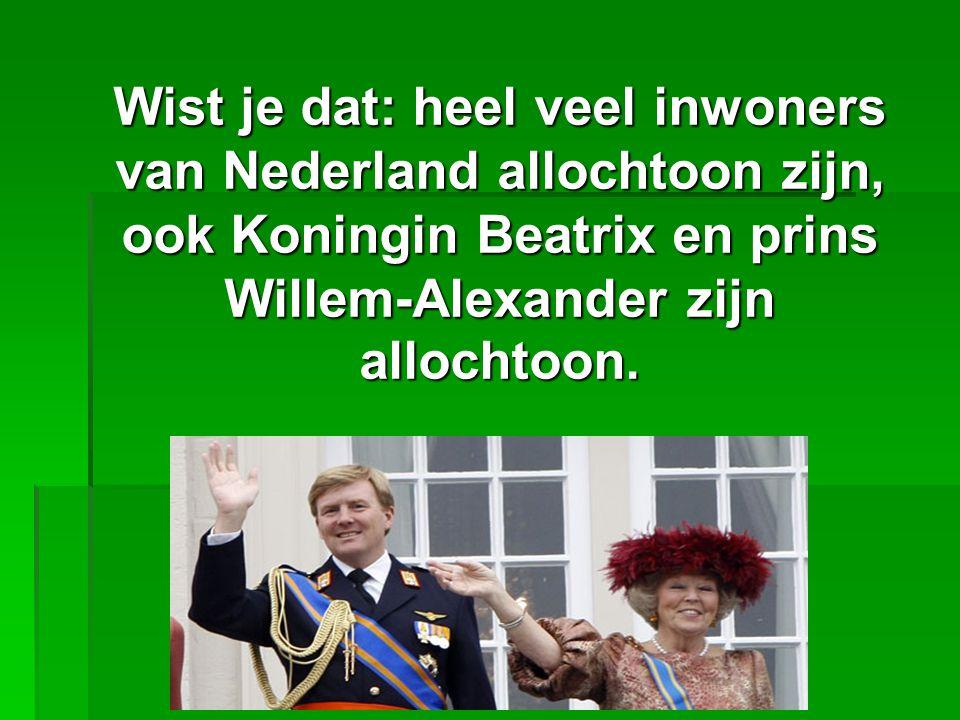 Wist je dat: heel veel inwoners van Nederland allochtoon zijn, ook Koningin Beatrix en prins Willem-Alexander zijn allochtoon.