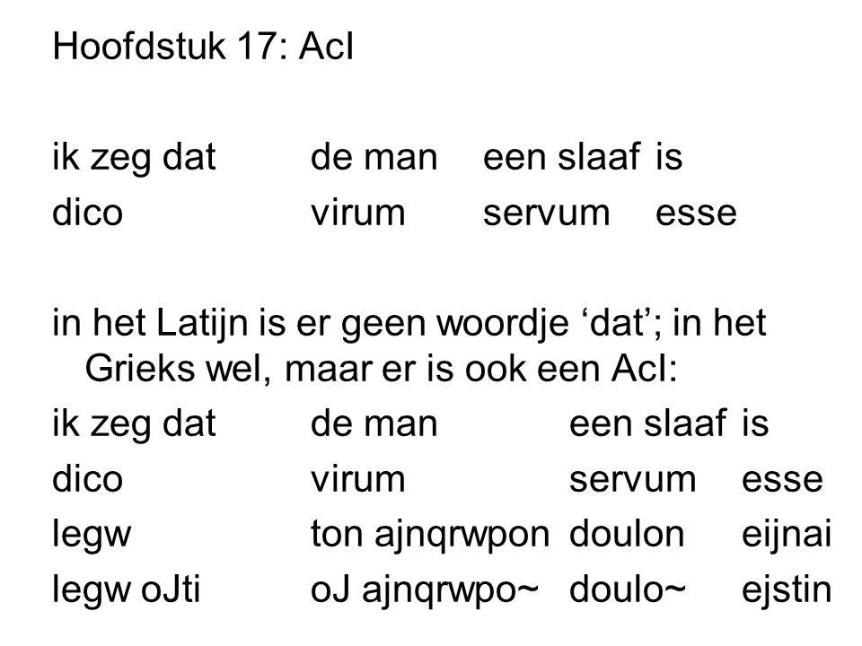 Hoofdstuk 17: AcI ik zeg dat de man een slaaf is. dico virum servum esse.