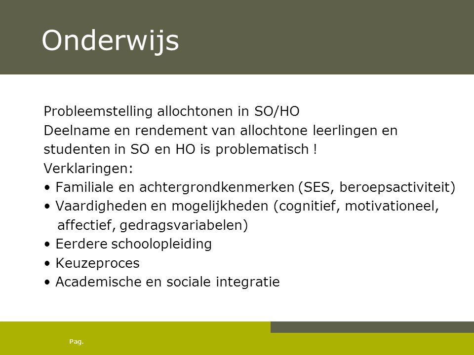 Onderwijs Probleemstelling allochtonen in SO/HO