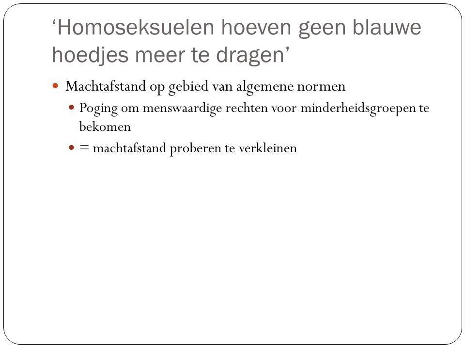 'Homoseksuelen hoeven geen blauwe hoedjes meer te dragen'