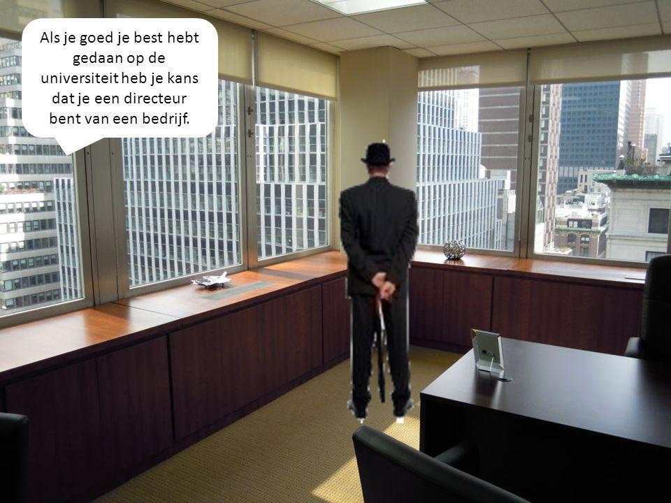 Als je goed je best hebt gedaan op de universiteit heb je kans dat je een directeur bent van een bedrijf.