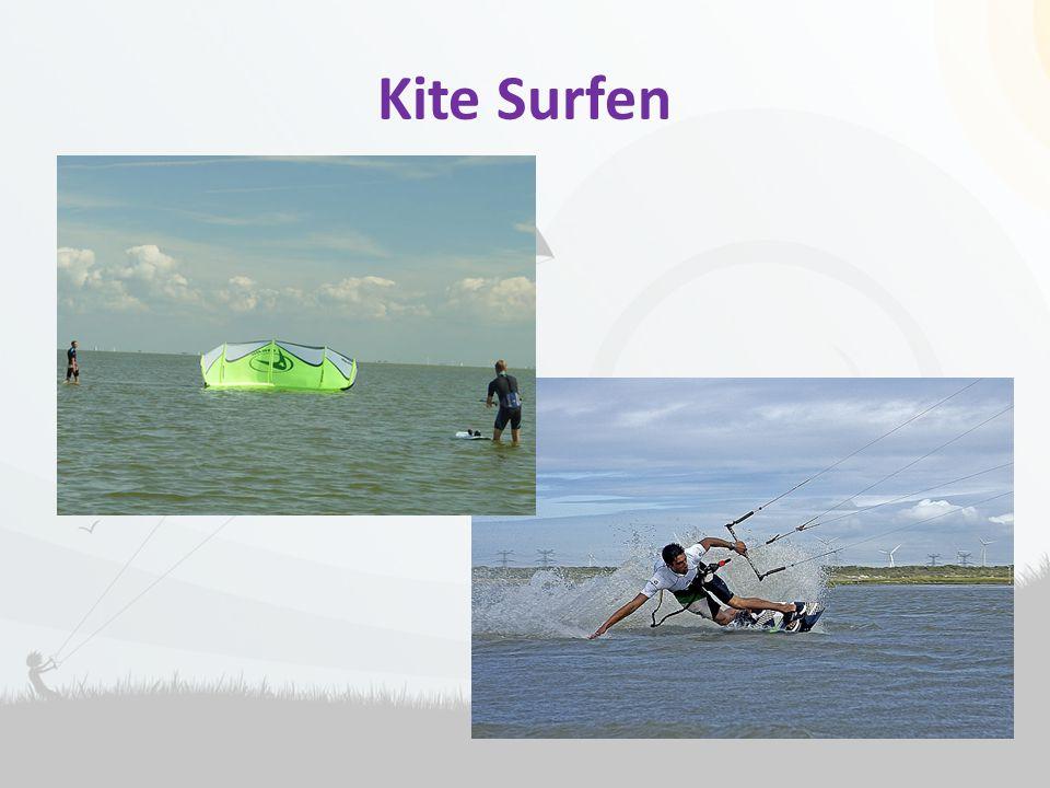 Kite Surfen Kitesurfen is surfen met een groter vlieger.