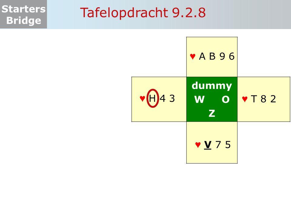 Tafelopdracht 9.2.8 dummy W O Z ♥ A B 9 6 ♥ H 4 3 ♥ ♥ T 8 2 ♥ V 7 5