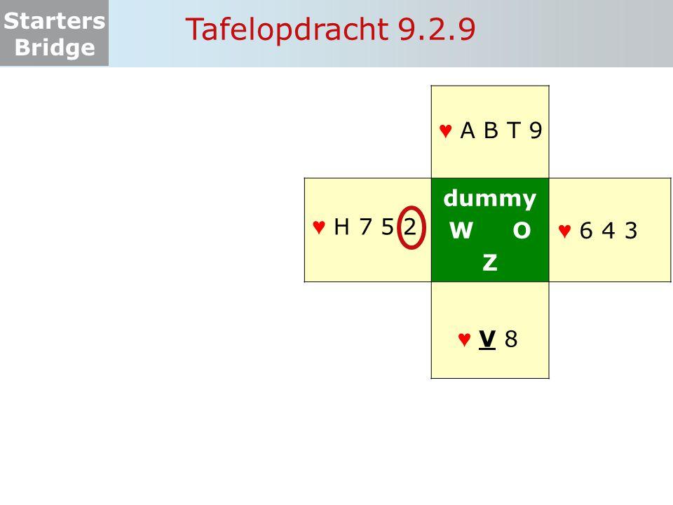 Tafelopdracht 9.2.9 dummy W O Z ♥ A B T 9 ♥ H 7 5 2 ♥ 6 4 3 ♥ V 8 ♥ V