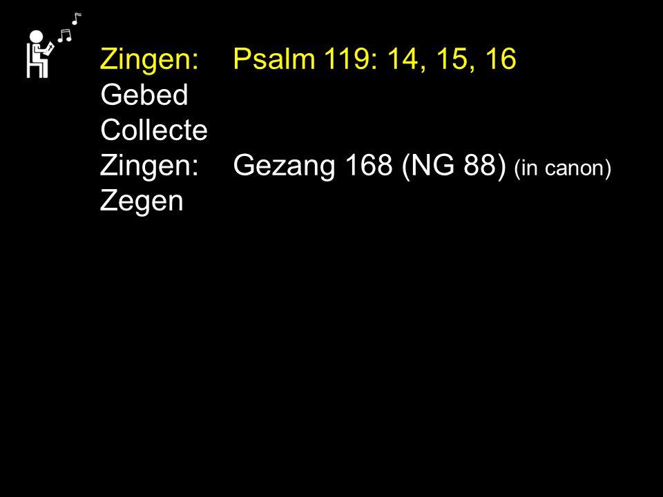 Zingen: Psalm 119: 14, 15, 16 Gebed Collecte Zingen: Gezang 168 (NG 88) (in canon) Zegen