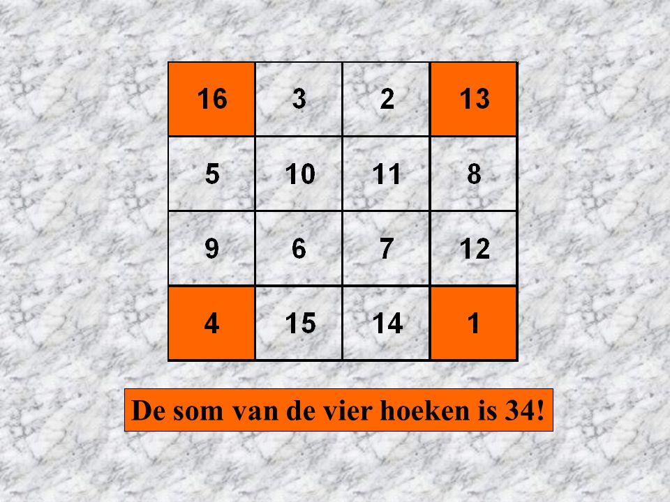 De som van de vier hoeken is 34!