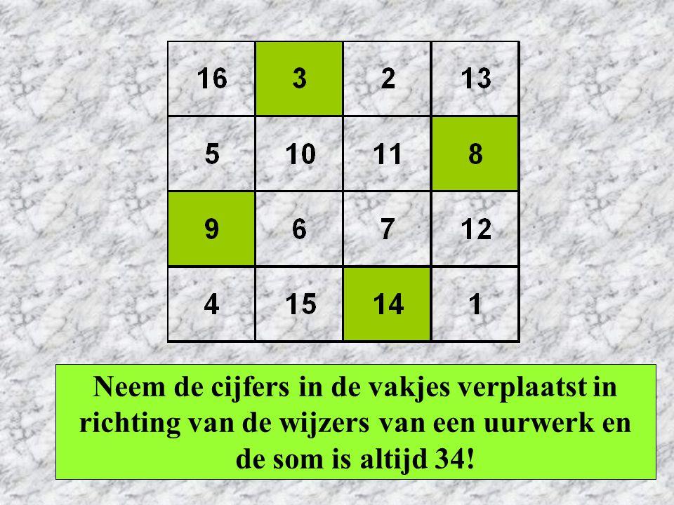Neem de cijfers in de vakjes verplaatst in richting van de wijzers van een uurwerk en de som is altijd 34!