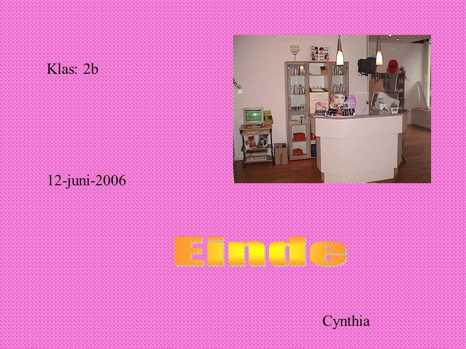 Klas: 2b 12-juni-2006 Einde Cynthia