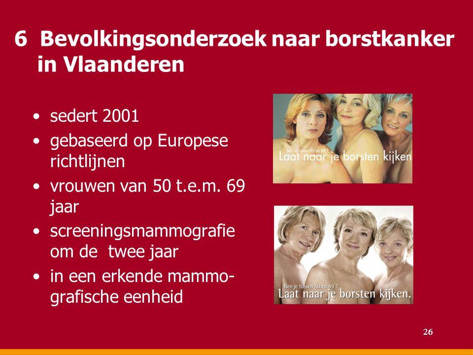 6 Bevolkingsonderzoek naar borstkanker in Vlaanderen