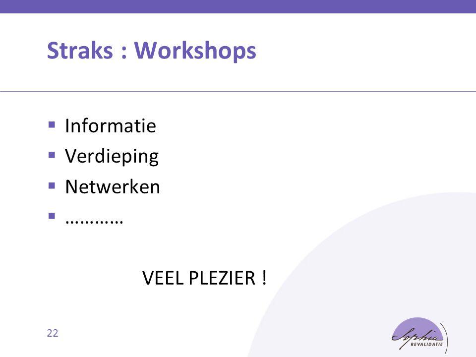 Straks : Workshops Informatie Verdieping Netwerken ………… VEEL PLEZIER !