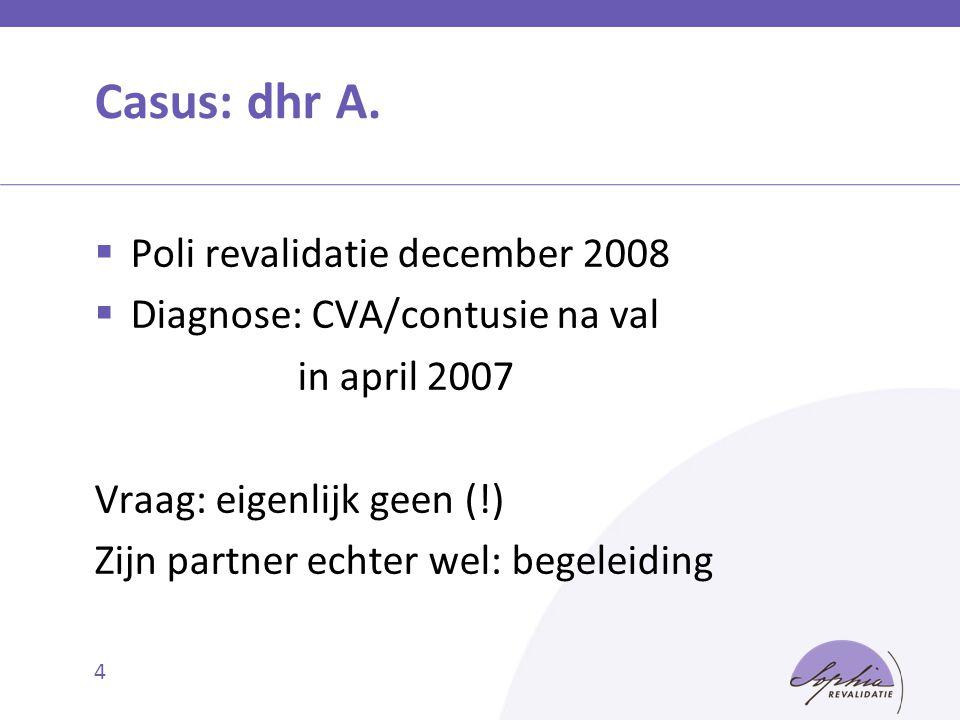 Casus: dhr A. Poli revalidatie december 2008