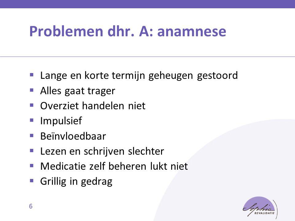 Problemen dhr. A: anamnese