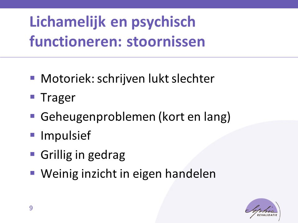 Lichamelijk en psychisch functioneren: stoornissen