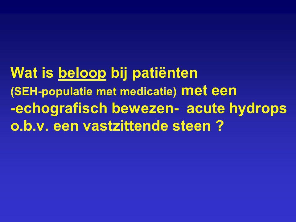 Wat is beloop bij patiënten (SEH-populatie met medicatie) met een -echografisch bewezen- acute hydrops o.b.v.