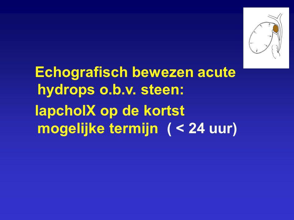 Echografisch bewezen acute hydrops o.b.v. steen: