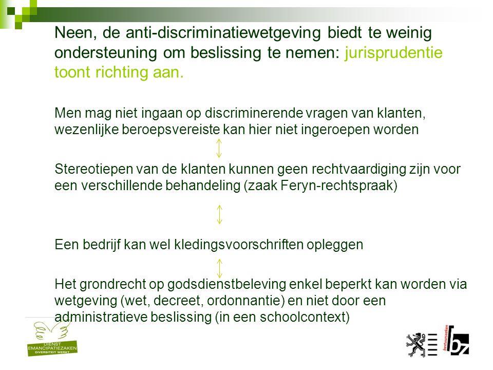Neen, de anti-discriminatiewetgeving biedt te weinig