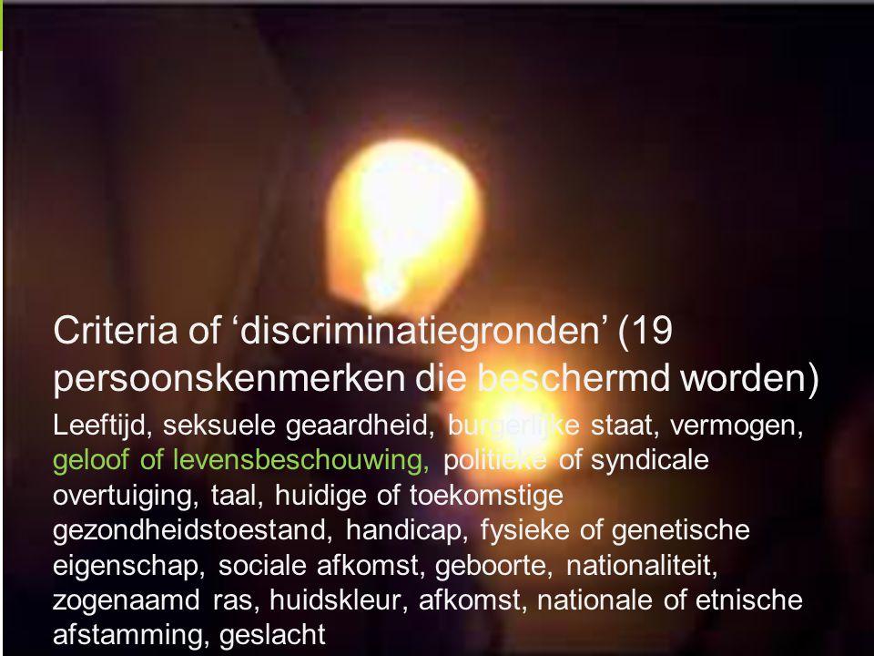 Criteria of 'discriminatiegronden' (19 persoonskenmerken die beschermd worden)